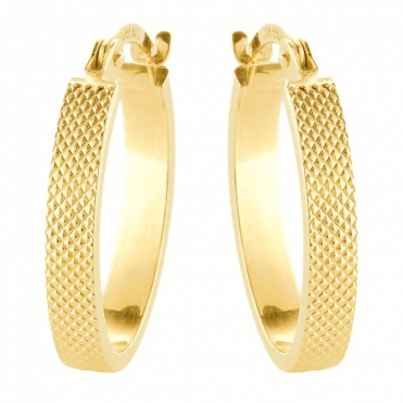9ct Gold Huggie Earrings Detailed All Around the Loops