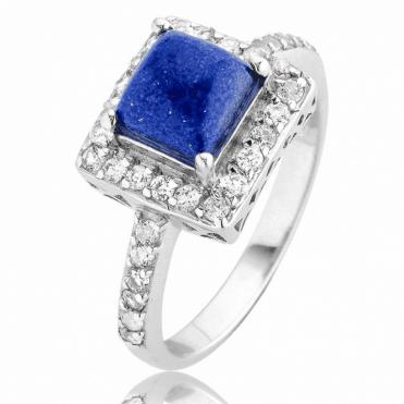 2cts Lapis Lazuli & Topaz Plateau Ring