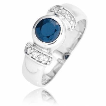 Blue Sapphire & White Topaz Sparkle
