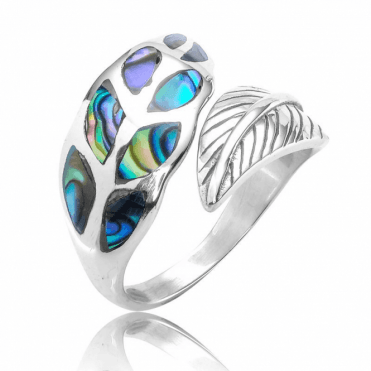 Easy Fitting Leaf Ring Inlaid with Paua Shell
