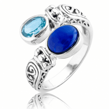 Sky Blue Topaz & Lapis on a Comfort-Fit Ring