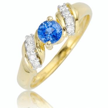 Ceylon Sapphire in a Gold & Diamond Setting