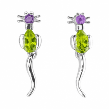 Amethyst & Peridot Cat Earrings with Swishy Tails