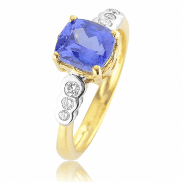 Glorious 1.43ct Tanzanite in a Diamond Setting of Tonal Gold