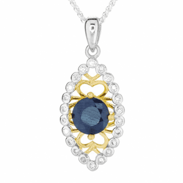 1½ct Dark Blue Sapphire Pendant with Nuances of Gold & Silver