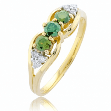 1/2ct of Rare Green Diamonds & White Diamonds in 9ct Yellow Gold