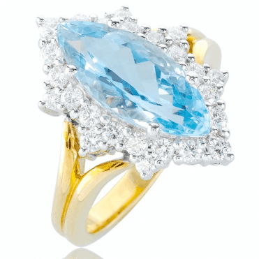 Gorgeous 2.91ct Aquamarine Ring with 18ct Gold & Diamonds