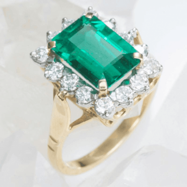 3.67ct Zambian Emerald & Diamond Heirloom Ring