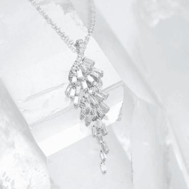 Baguette Cut Diamond Cascade in 18ct White Gold