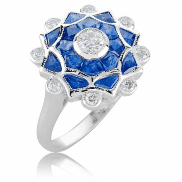 1.50cts of Hand Cut Sapphires Crowned with Brilliant Cut Diamonds