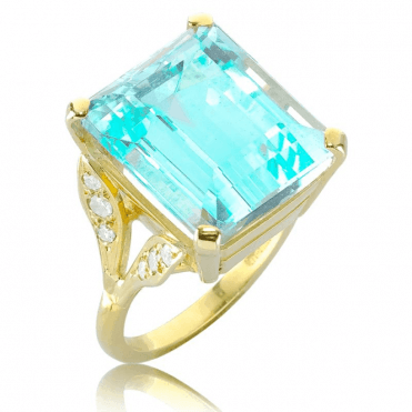 Ocean Blue 12ct Aquamarine Ring with Diamonds