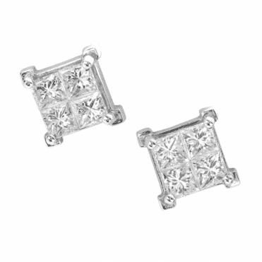 Classic 18ct White Gold & Diamond Earrings