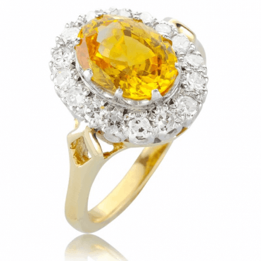 Rare Madagascan Yellow Sapphire & Diamond Ring