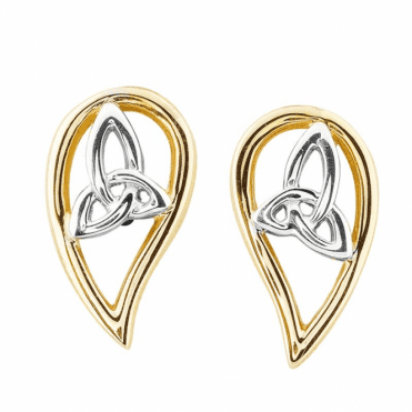 Celtic Wing Earrings in White and Yellow 9ct Gold