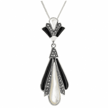 Art Deco Fan Pendant with Onyx & Mother of Pearl