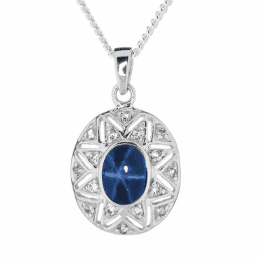 Etched Sunray Pendant Holds a Startling 1.8cts Star Sapphire