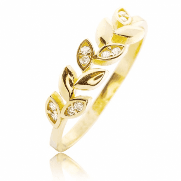 Leafy Ring in Solid 9ct Gold with a Sparkling Secret