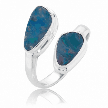 Easy-fitting Open Silver Ring of Mosaic Opal
