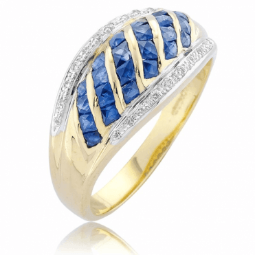 9ct Gold Ring Lights Princess Sapphires with Diamonds