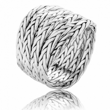 Byzantine Rope Ring in Weighty Sterling Silver