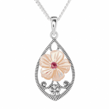 Silver, Mother of Pearl & Ruby Pendant