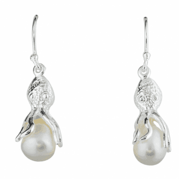 Silver Octopus Earrings with Freshwater Pearls