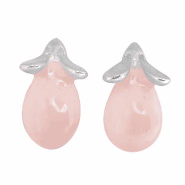 Playful Mouse Earrings in Pink Enamel & Silver