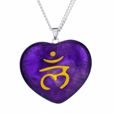 A Tibetan Monks Blessing on an Amethyst Heart Pendant