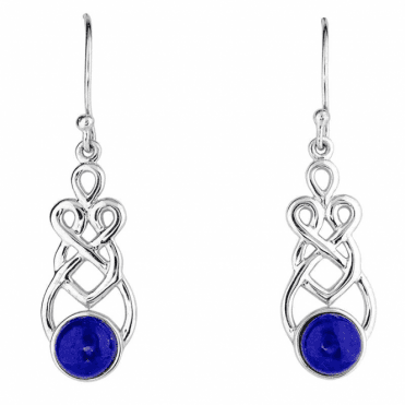 Celtic Earrings with Lapis Lazuli