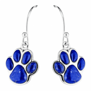 Playful Paw Print Earrings with 1.50cts of Lapis Lazuli