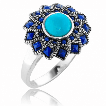 Silver Cyclone Ring with Lapis & Turquoise Only £37.50