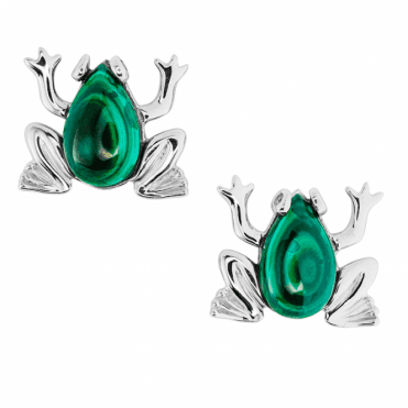 Enchanting Frog Earrings in Sterling Silver & Malachite