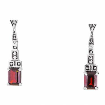 Egyptian Inspired Earrings with Fiery Garnet