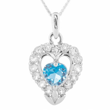 French-Inspired Silver Heart Sparkles with Blue & White Topaz