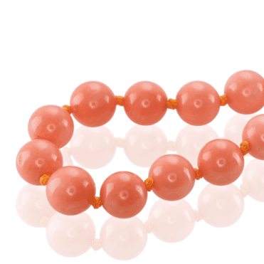 Extra Long String of Satin Coral Beads