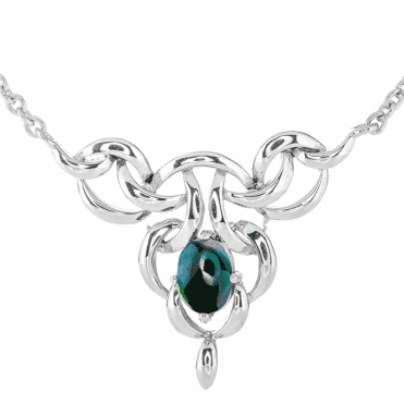 Art Nouveau Silver Necklet with a Watchful Eye of Black Opal