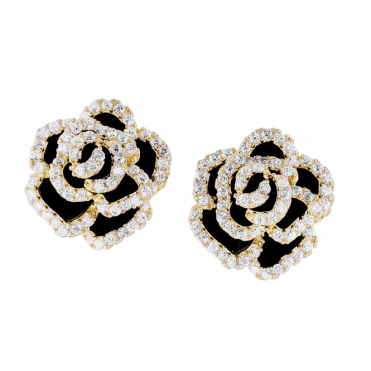 Black Rose Earrings Blushing with Yellow Gold