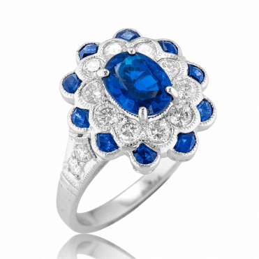18ct White Gold Ring with nearly 2½cts of Sapphire & Diamonds