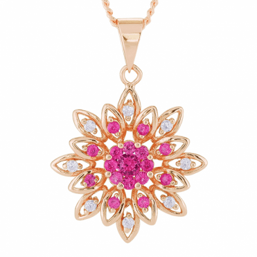 Pressed Flower Pendant Nuanced with 18ct Rose Gold