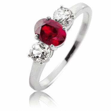 Ruby & White Topaz Celebration Ring