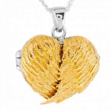 Angel Wings Locket Opens up to a Sparkling Heart
