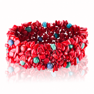 A 250ct Crunch of Coral, Turquoise & Lapis