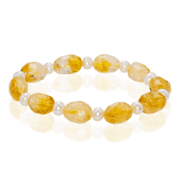 Fresh Sunny Citrine with Pearls
