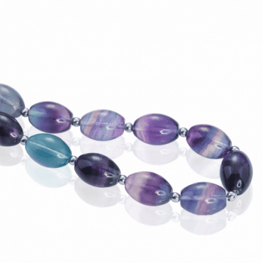 Rainbow Fluorite Barrel Beads with Silver Accents