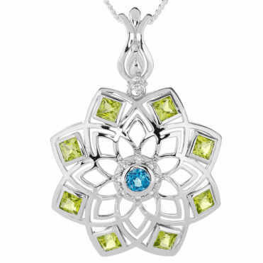 Sterling Silver Mastery with Square Cut Peridots & Blue Topaz