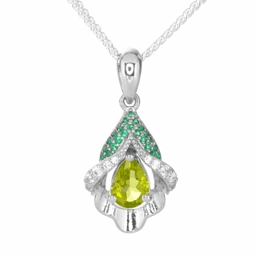 Lily Pendant with a Vibrant Sparkle of Peridot