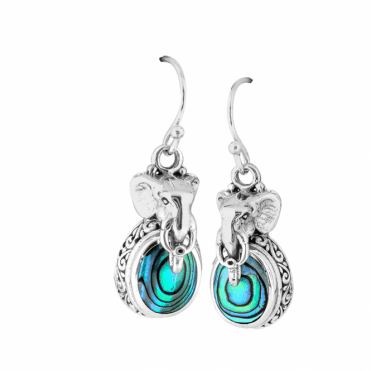 Silver Elephant Earrings with Paua Brightness