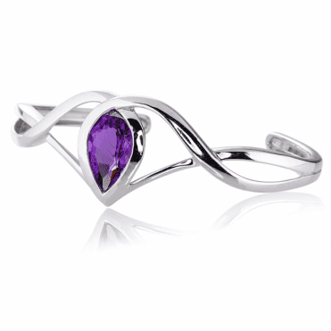 5ct Brazilian Amethyst in a Celtic Silver Bangle