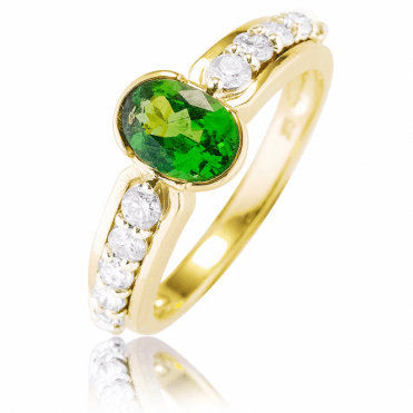 Vivid 1.40cts Tsavorite & Diamond Ring