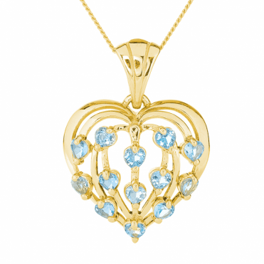 9ct Yellow Gold Heart Dances with Aquamarine from Brazil